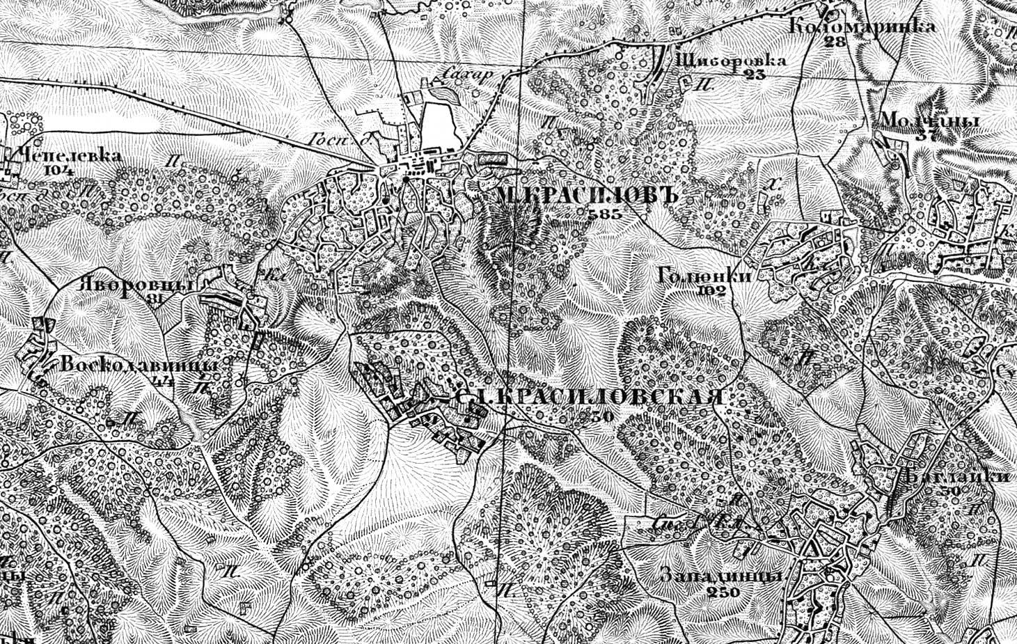 Красилов на карте Шуберта 1867-1868 гг.